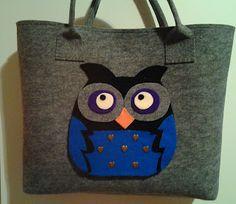 biżuteria soutache, haft koralikowy, torby z filcu: z sowami Felt Bags, Reusable Tote Bags, Hand Crafts, Felted Bags