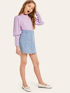 Girls Leg-of-mutton Sleeve Polka Dot Blouse mutton Cute Girl Outfits, Cute Summer Outfits, Kids Outfits, Tween Fashion, Pop Fashion, Fashion Outfits, Fashion Trends, Leg Of Mutton Sleeve, Paris Outfits