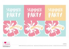 Labels Summer Party Printables   CatchMyParty.com Free Beach, Free Summer, Silhouette Cameo Projects, Food Labels, Summer Parties, Free Blog, Beach Party, Luau, Party Printables