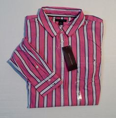 Tommy Hilfiger Women's Striped Oxford Long Sleeve Shirts Sizes L, XL, 2XL. #TommyHilfiger #ButtonDownShirt #Casual