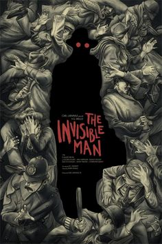 """The Invisible Man,"" by Jonathan Burton. Cool New Mondo Posters for Classic Universal Monster Movies – Page 6 – Flavorwire Gravure Illustration, Illustration Art, Illustrations, Monster Art, Book Cover Art, Book Cover Design, Plakat Design, Buch Design, Kunst Poster"