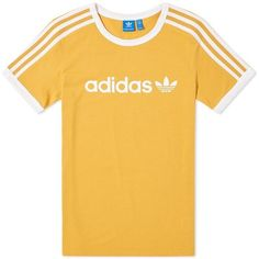 Adidas Linear Tee (£27) ❤ liked on Polyvore featuring tops, t-shirts, shirts, adidas, yellow tee, adidas tee, shirt top, adidas shirt and yellow t shirt