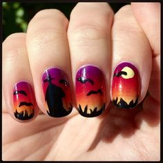 Spooky sunrise nail art