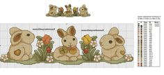 BORDURA CONIGLI THUN SCHEMA PUNTO CROCE Modern Cross Stitch Patterns, Cross Stitch Designs, Baby Embroidery, Machine Embroidery, Easter Cross, Cross Stitch Animals, Animal Decor, Canvas Crafts, Holidays And Events