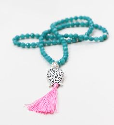Turkish Islamic 99 Prayer Beads, Tesbih, Tasbih, Misbaha, Worry Beads, Turquoise Jade Stone, Tulip Shape Imame, Pink Tassel