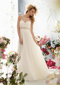 informal wedding dress from Voyage by Mori Lee Dress Style 6764 Crystal Beaded Embroidery on Delicate Chiffon