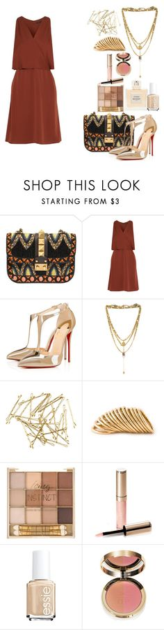 """""""Untitled #741"""" by soosoali ❤ liked on Polyvore featuring Valentino, Theory, Christian Louboutin, Vanessa Mooney, H&M, Shaun Leane, By Terry, Balmain and Essie"""