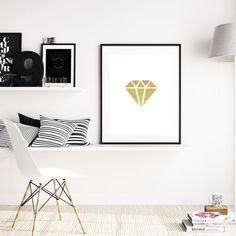 Gold Diamond Print, Gold Diamond Wall Art, Diamond Wall Print, Black Diamond Art, Black Wall Prints, Diamond Print, Wall Art Prints