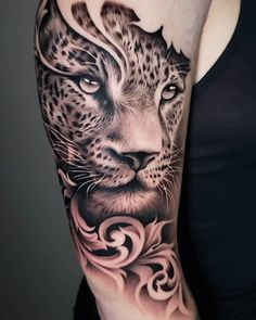 Black Realistic, Tiger Tattoo on Arm Unique Tattoos and for more visit best of the world tattoo ideas website KickTattoo. Tiger Tattoo Thigh, Cheetah Tattoo, Big Cat Tattoo, Tiger Tattoo Design, Tiger Tattoo Back, Arm Tattoo, Stag Tattoo, Animal Sleeve Tattoo, Best Sleeve Tattoos