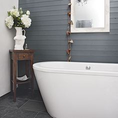 Modern bathroom with grey painted panelling | Bathroom decorating | Ideal Home | housetohome.co.uk