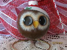 Handpainted glass owl ornament with Santa hat. Christmas Ornaments To Make, Homemade Christmas, Christmas Fun, Christmas Bulbs, Christmas Decorations, Handpainted Christmas Ornaments, Reindeer Ornaments, Owl Crafts, Christmas Projects