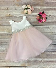 Look what I found on #zulily! Ivory & Blush Tulle Rhinestone A-Line Dress - Infant #zulilyfinds