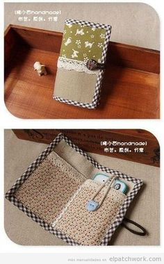Mit Patchworkstoffen hergestellte Handytaschen 2 Cellphone bags 2 made with patchwork fabrics, Small Sewing Projects, Sewing Projects For Beginners, Sewing Hacks, Sewing Tutorials, Sewing Crafts, Patchwork Fabric, Patchwork Bags, Bag Patterns To Sew, Sewing Patterns