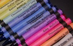 "This is a set of 64 Crayola crayons with labels so that while children are coloring, they are also exposed to the names of chemicals that will make those colors!     So instead of thinking ""I want green"" they will think ""I want Barium Nitrate Ba(NO3)2 Flame"" and then when they take chemistry in high school and their teacher sets some gas on fire and it makes a green color and they ask the class what chemical it was your student will know it was Barium. Genius!"