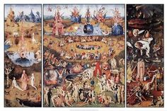 Hieronymus Bosch: this is one of my favorites he was one very messed up individual but his work is interesting. This triptych closes when it does it shows a flooded planet.