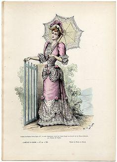 L'Art et la Mode 1891 N°29 Marie de Solar, hand colored fashion plate, Lady Parasol