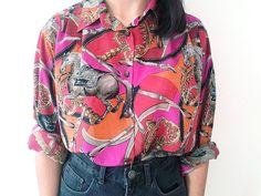 Camisa vintage con estampado de caballos / por meowvintageclothes1, €9.00