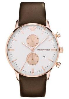 Emporio Armani Men's Classic AR0398 Brown Leather Quartz Watch with White Dial