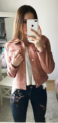 how to style ambroidered jeans : top + pink jacket