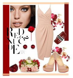 """""""Red and nude"""" by paloma1501 ❤ liked on Polyvore featuring Maybelline, Alexander McQueen, Christian Louboutin, Angélique de Paris, Kevin Jewelers and Miss Selfridge"""