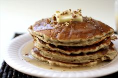 BANANA PECAN PANCAKES with BUTTER SYRUP