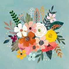 Even wat fleurigs tussendoor op deze natte avond Illustration Art Floral, Motif Floral, Art And Illustration, Floral Illustrations, Watercolor Flowers, Watercolor Art, Buch Design, Guache, Art Inspo
