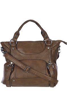 Black Rivet Double Up Faux Leather Handbag w/ Buckle Front, $59.99