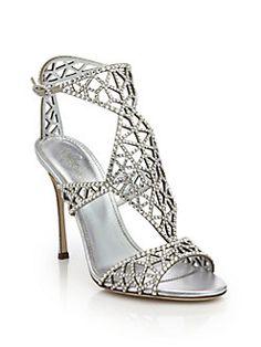 GABRIELLE'S AMAZING FANTASY CLOSET | Sergio Rossi - Tresor Crystal-Embellished Silk Sandals |