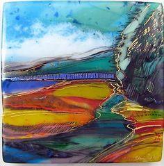 Fused glass landscape - unknown artist