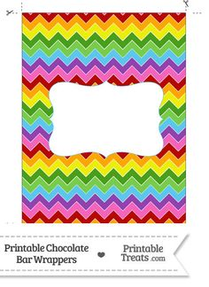 Rainbow Chevron Chocolate Bar Wrappers from PrintableTreats.com