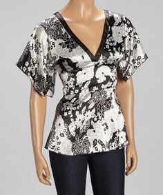 Love this Black & White Floral V-Neck Top by Papillon Imports on #zulily! #zulilyfinds