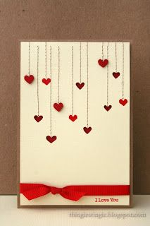 handcrafted Valentine card from little things: Heart, Heart ... simple and elegant ... machine stitched lines end in little valentines ... some negative die cut cuts ... some stamped ... some popped ... lots of dimension ... knotted ribbon low on the front ...