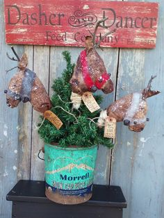 PRIMITIVE Grungy ~REINDEER  POKES~ E Pattern Christmas by StoneMountainPrim on Etsy