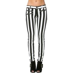 Stripped Zipper Pocket Skinny Jeans in Black and White (295 SEK) ❤ liked on Polyvore
