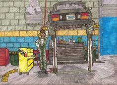 Datsun 280Z on the hoist