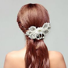 Stylish Lace Rhinestones Party Headpieces with Imitation Pearls with Artificial Flower – USD $ 20.99