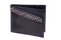 Billetera en cuero y caña flecha. Color negro