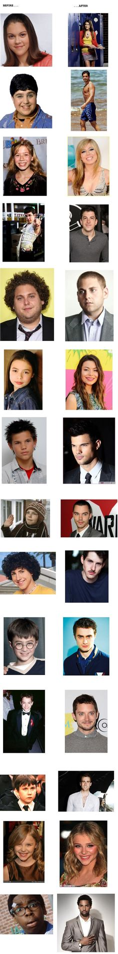 Celebrities then and now.