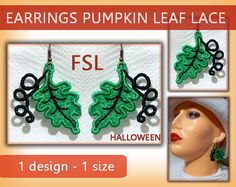 Pumpkin leaf earrings lace - FSL - 4x4 hoop - Machine embroidery…