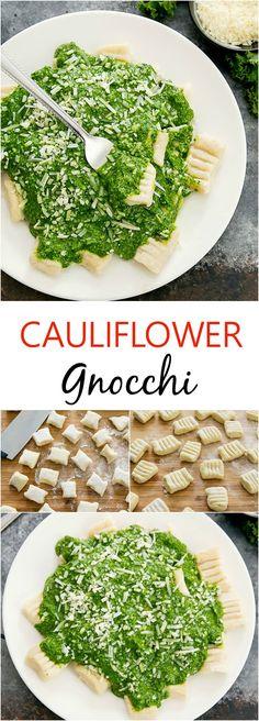 Cauliflower Gnocchi with pesto. A lighter version of traditional potato gnocchi.