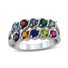 """Mother's Birthstone Double Row """"S"""" Ring (7-12 Stones) 