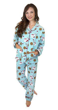 PJ Salvage Milk & Cookies Flannel PJ Set in Aqua @ www.shopblueeyedgirl.com