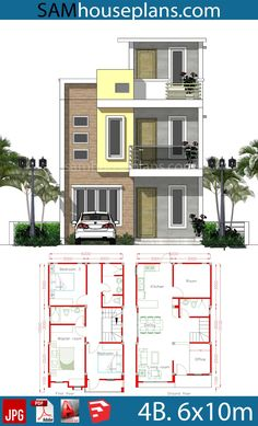 landscape architecture - House Plans with 4 Rooms Sam House Plans Two Storey House Plans, Narrow House Plans, 2 Storey House Design, Duplex House Design, House Front Design, Small House Design, 2bhk House Plan, Model House Plan, Simple House Plans
