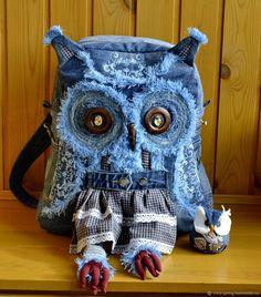 Redo Clothes, Diy Backpack, Rucksack Backpack, Gypsy Bag, Owl Quilts, Owl Bags, Owl Fabric, Felt Owls, Denim Ideas