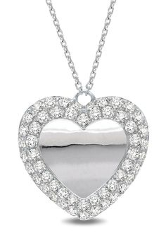 1 CT Diamond Heart Necklace In 14k White Gold