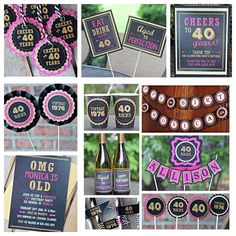 Ladies 40th birthday party decorations.   11-piece party decor box.  Black, hot pink and gold glitter.  Any Age. by CharmingTouchParties on Etsy