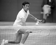 Ken Rosewall of Australia in action at Wimbledon, circa June 1975. Rosewall lost in the fourth round to Tony Roche of Australia in four sets.