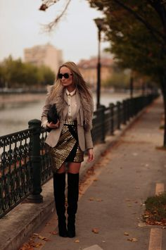 Fall fashion: sparkly skirt with over the knee boots