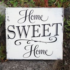 Home Sweet Home... sign on reclaimed wood in Black and Cream