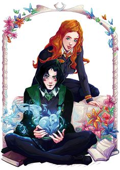 Severus Snape and Lily Evans (Harry Potter) by Sahyuri on DeviantArt Lily Potter, Harry Potter Fan Art, Harry Potter Anime, Harry Potter Books, James Potter, Harry Potter World, Severus Snape, Severus Rogue, Animals